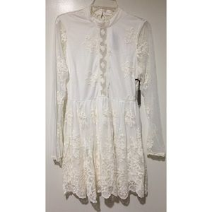 Ivory Long sleeve Lace Embroidered Dress